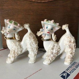 Vintage  Lefton Spaghetti Poodle Dog Figurines